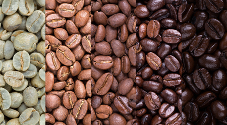 coffee beans: A collage of coffee beans showing various stages of roasting from raw through to Italian roast