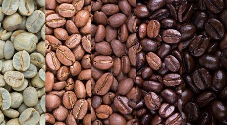Un collage de los granos de café que muestran diversas etapas de tostación de crudo a través de la carne asada italiana