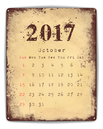 enamel: A retro style tin and enamel signboard with monthly calendar for October 2017.
