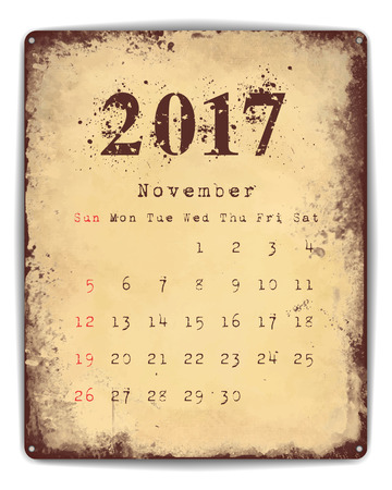 enamel: A retro style tin and enamel signboard with monthly calendar for November 2017.