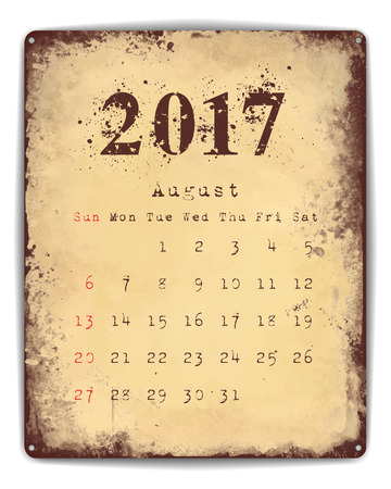 enamel: A retro style tin and enamel signboard with monthly calendar for August 2017.