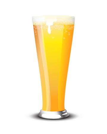 pint: A pint of cold lager over a white background.