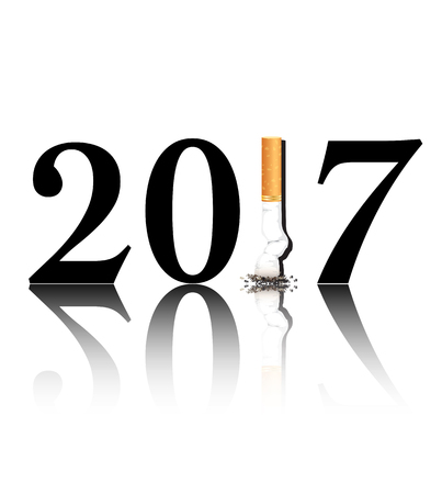 new years resolution: New Years resolution Quit Smoking concept with the 1 in 2017 being replaced by a stubbed out cigarette. Illustration