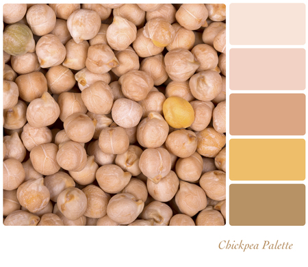 complimentary: A background of dried chickpeas, in a colour palette with complimentary colour swatches.