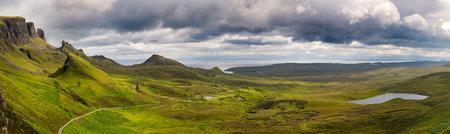 Panorama of the Quiraing mountain range, Ilse of Skye, Inner Hebrides, Scotland.
