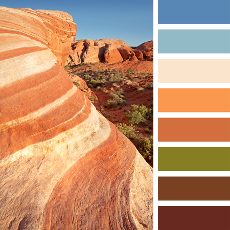 complimentary: Colourful wave rock formation in the Valley of Fire state park, near Las Vegas, Nevada, USA. In a colour palette with complimentary colour swatches. Stock Photo