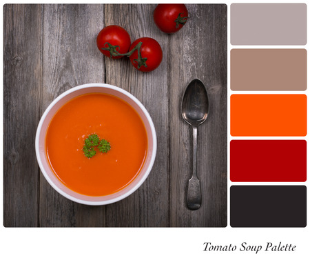 Tomato soup over old wood background. In a colour palette with complimentary colour swatches. Stock Photo