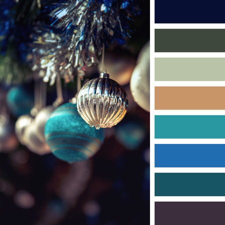 complimentary: A garland of antique style Christmas tree baubles hanging from tinsel. In a colour palette with complimentary colour swatches.