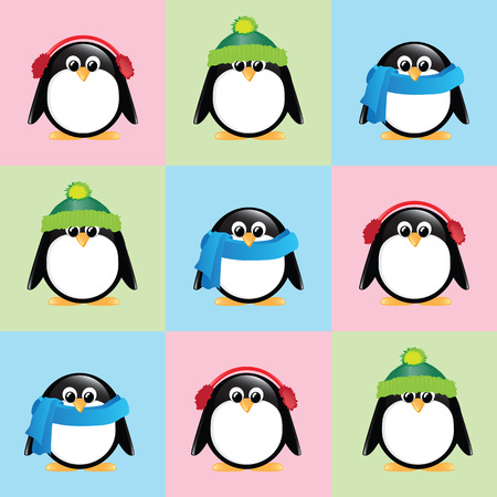 scarves: A seamless background of cute cartoon penguins, wearing winter hats, scarves and earmuffs, on colorful checkered background.