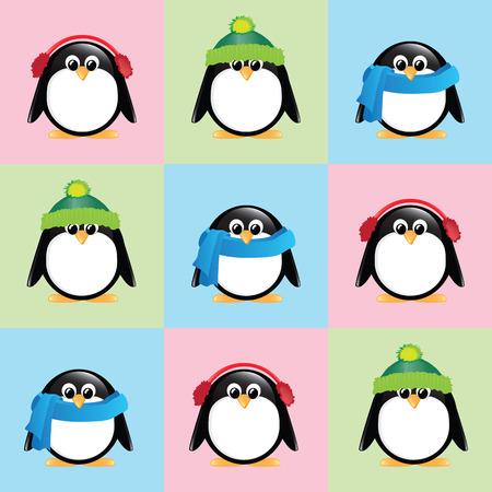 sciarpe: Uno sfondo trasparente di pinguini svegli del fumetto, indossando cappelli invernali, sciarpe e cuffie, su sfondo colorato a scacchi.