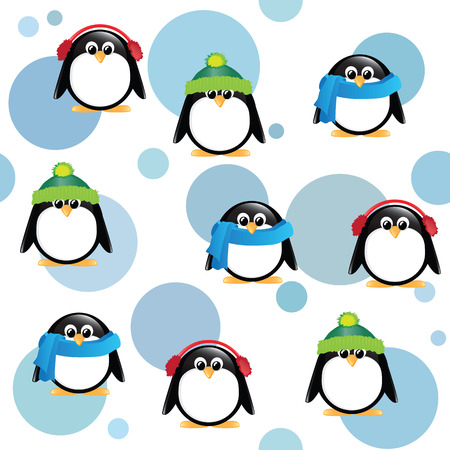 blue spotted: A seamless background of cute cartoon penguins, wearing winter hats, scarves and earmuffs, on blue spotted background.
