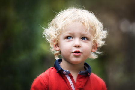 2 year old: Small boy playing outside. Portrait of 2 year old toddler with blond hair and blue eyes. Stock Photo