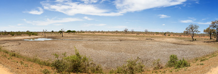 worst: Panorama of a dried out waterhole in Kruger. This is a result of one of the worst droughts in 40 years.