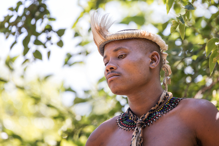 gauteng: Lesedi Cultural Village, SOUTH AFRICA - 4 November 2016: Portrait of a Zulu Warrior wearing impala skin headdress. Zulu is one of the five main tribes in South Africa known for their fighting skills. Editorial