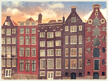 amsterdam canal: Digital watercolour of historic merchant houses along the canal side in Amsterdam, Netherlands.