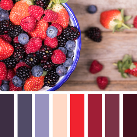 complimentary: Summer fruits in a ceramic bowl, overhead view. In a colour palette with complimentary colour swatches.