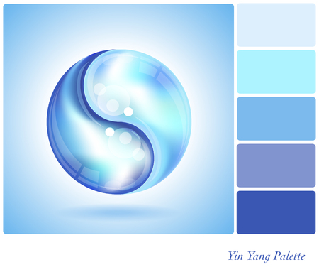 Two water drops forming the shape of a Yin Yang. In a colour palette with complimentary colour swatches. Illustration