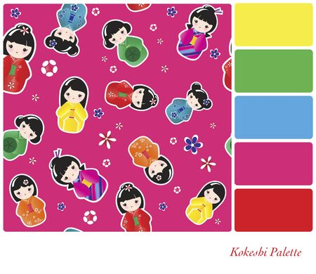 A seamless background of Japanese Kokeshi dolls. In a colour palette with complimentary colour swatches. Illustration
