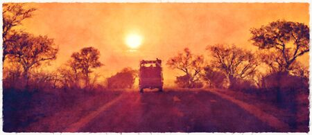 Aquarelle numérique d'un véhicule de safari qui traverse le parc national Kruger au coucher du soleil.