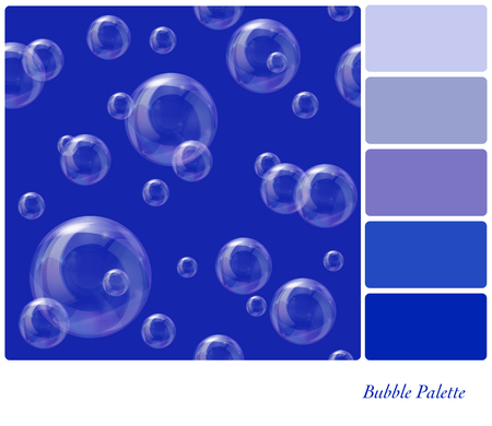 Soap bubbles floating in the air, in a colour palette with complimentary colour swatches. Pattern is in separate layer for easy extraction.