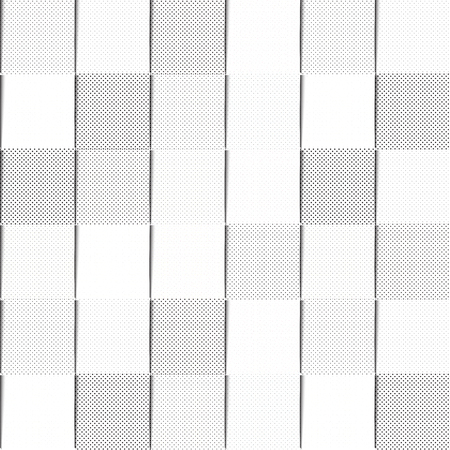 black shadows: A seamless background pattern of black and white halftone filled squares, with shadows giving the appearance overlapping paper. vector format