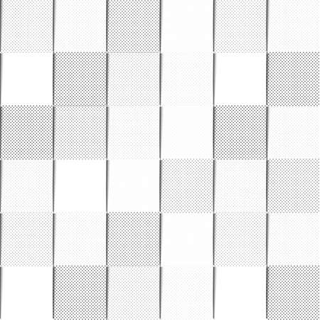 black shadows: A seamless background pattern of black and white halftone filled squares, with shadows giving the appearance overlapping paper. EPS10 vector format Illustration