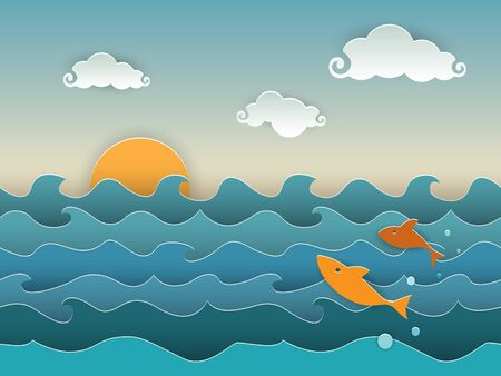 fluffy clouds: Jumping golden fish in the deep blue sea. A seascape with the setting sun, fluffy clouds and jumping fish. Cut paper style with shadows creating a 3D effect, and retro colour palette. EPS10 vector format. Illustration
