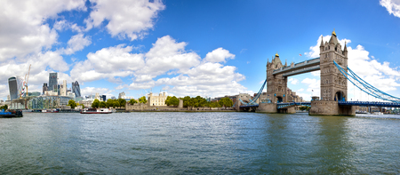 Panorama of the City of London, the Tower or London and Tower Bridge, as seen from the South Bank of the river Thames. Stock Photo