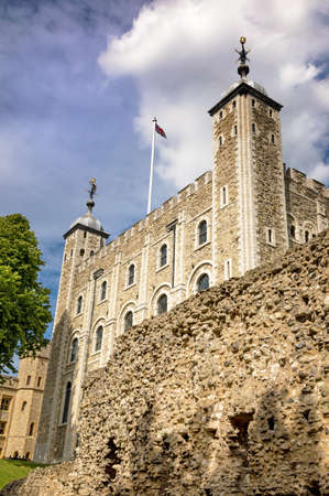 The iconic White Tower of the Tower of London. Built by William the Conqueror in the 11th century, and use as a Palace, Fortress and prison over the centuries.