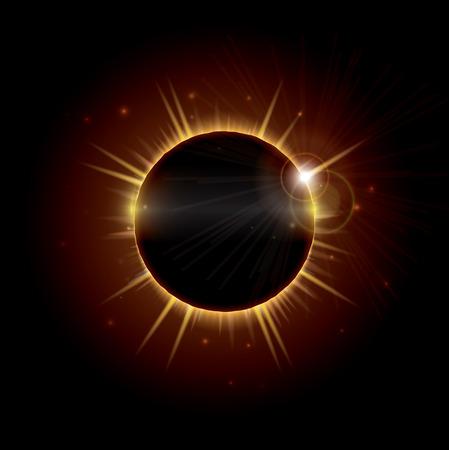 総: An illustration depicting a total eclipse of the sun, an occurrence that is rarely visible and happens when the moon passes directly between the sun and the earth and temporarily blocks it out. EPS10