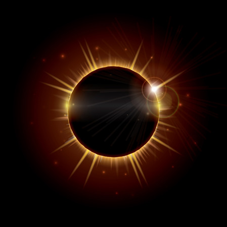 An illustration depicting a total eclipse of the sun, an occurrence that is rarely visible and happens when the moon passes directly between the sun and the earth and temporarily blocks it out. EPS10 vector format.