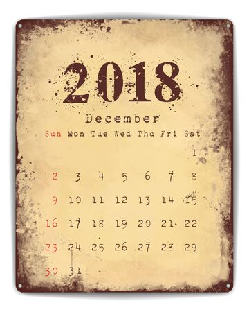 planner: A retro style tin and enamel signboard with monthly calendar for December 2018. EPS10 vector format.
