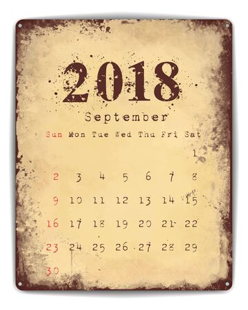 planner: A retro style tin and enamel signboard with monthly calendar for September 2018. EPS10 vector format. Illustration