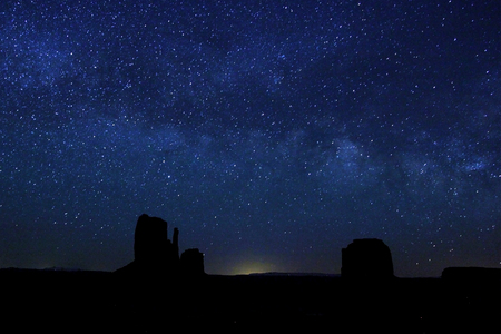 The Milky Way in the night sky over the Mitten Buttes of Monument Valley, Arizona, USA