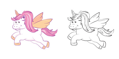 A cute winged unicorn, in shades of pastel pink, black and white version to color in. Printable activity pages for children. EPS10 vector format