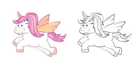 Une mignonne licorne ailée, dans les tons de rose pastel, noir et blanc à colorier. Pages d'activités imprimables pour les enfants. Format vectoriel EPS10 Vecteurs