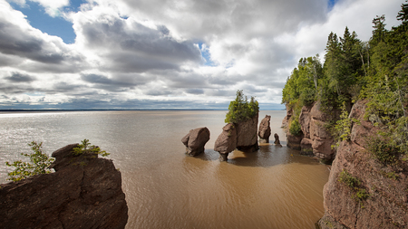 Panorama of the flowerpot rock formations at Hopewell Rocks, Bay of Fundy, New Brunswick. The extreme tidal range of the bay makes the sea look like mud from the stirred up silt. Stock Photo