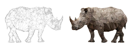 African white rhinoceros, triangulation style banner in natural skin tones and black and white wire frame view.