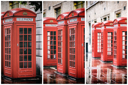 A retro styled triptych collage of British red phone boxes in a row, in Covent garden after the rain.