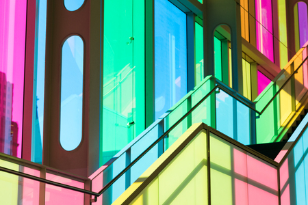 Montreal, Canada - 14 Sept 2017: The colourful stained glass Palais des congres de Montreal, a covention and exhibition centre located in Downtown Montreal, Canada