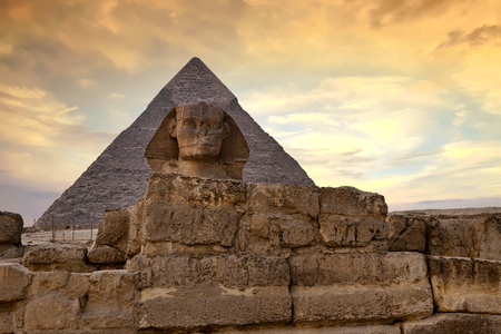 Sphinx and Great Pyramid of Giza at dusk, Cairo, Egypt Stock Photo