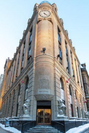 Ottawa, Canada - 20th January 2015: The grand Art Deco post office, or Bureau de Poste building, built in 1939, in the capital city of Ottawa, Ontario, Canada.