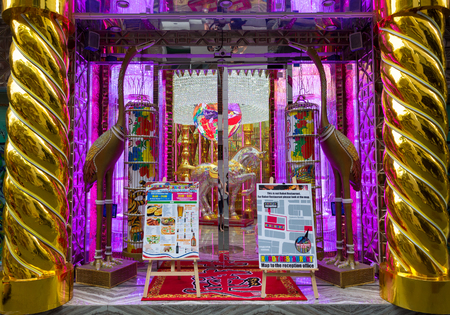Tokyo, Japan - 19 June 2016: The kitsch entrance to the American Bar and Cafe Ren, sister bar to the Robot Restaurant. Shinjuka, Tokyo, Japan.