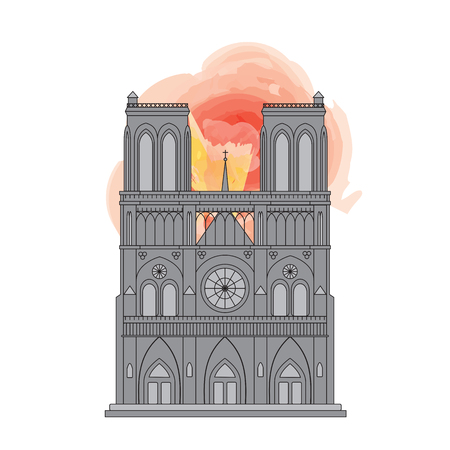 Notre Dame Cathedral in Paris, France. Line drawing with watercolor style flames. EPS10 vector format Illustration