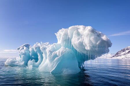 Blue ice iceberg, formed when a glacier calves, floating in the arctic waters of Svalbard, a Norwegian archipelago between mainland Norway and the North Pole