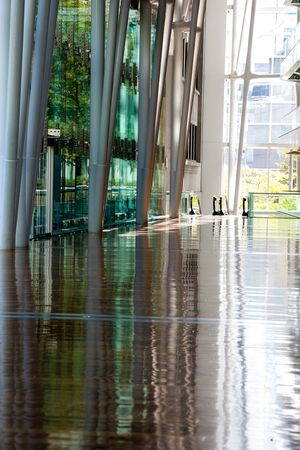Montreal, Canada - 14th September 2017: The Palais des Congres, or Palace of Congress, in downtown Montreal, Canada,  showing the vast hallway of this Internationl Conference Centre. 에디토리얼