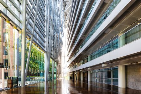 Montreal, Canada - 14th September 2017: The Palais des Congres, or Palace of Congress, in downtown Montreal, Canada. AThe vast hallway of this Internationl Conference Centre. 에디토리얼