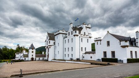 Blair Atholl, UK - 7th August 2015: Storm clouds over Blair Castle,  a medievil stronghold at Blair Atholl, Perthshire, Scotland.