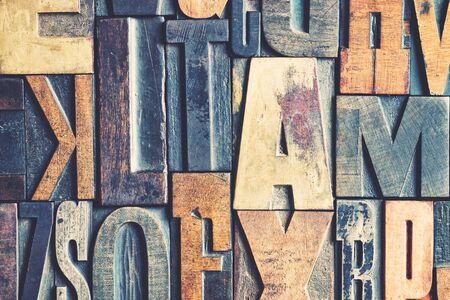 Un fond de blocs de typographie vintage Banque d'images