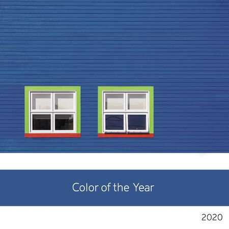 Color of the year 2020. A background of  a blue building, in classic, rich blue tones with colourful windows. Minimialism style. 版權商用圖片